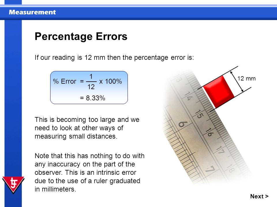 Percentage Errors If our reading is 12 mm then the percentage error is: 12 mm. % Error = x 100%