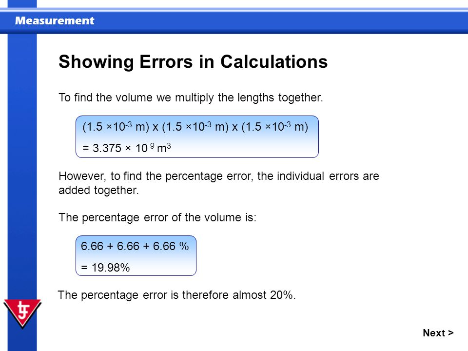 Showing Errors in Calculations