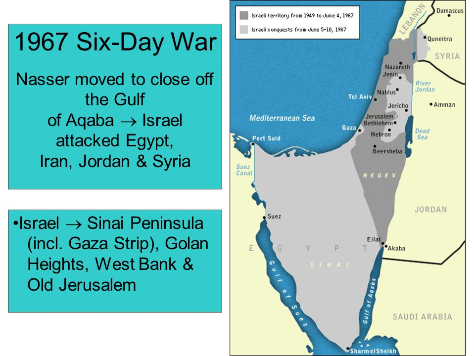1967 Six-Day War Nasser moved to close off the Gulf
