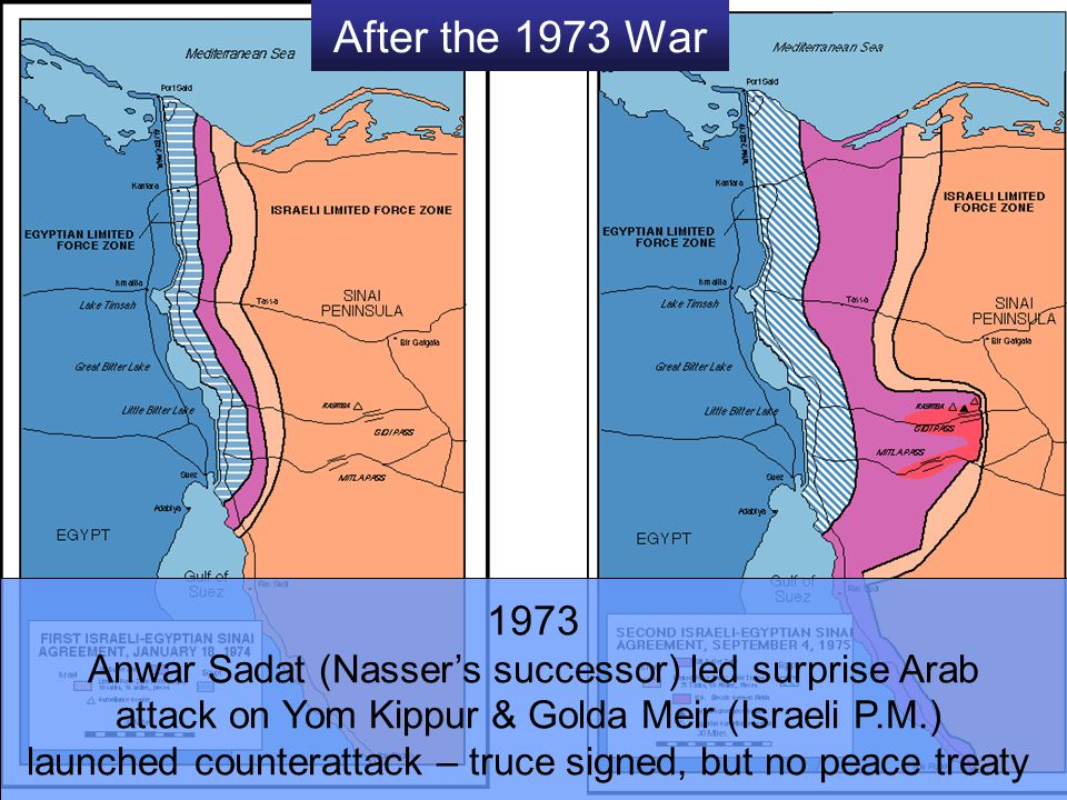 After the 1973 War 1973. Anwar Sadat (Nasser's successor) led surprise Arab. attack on Yom Kippur & Golda Meir (Israeli P.M.)