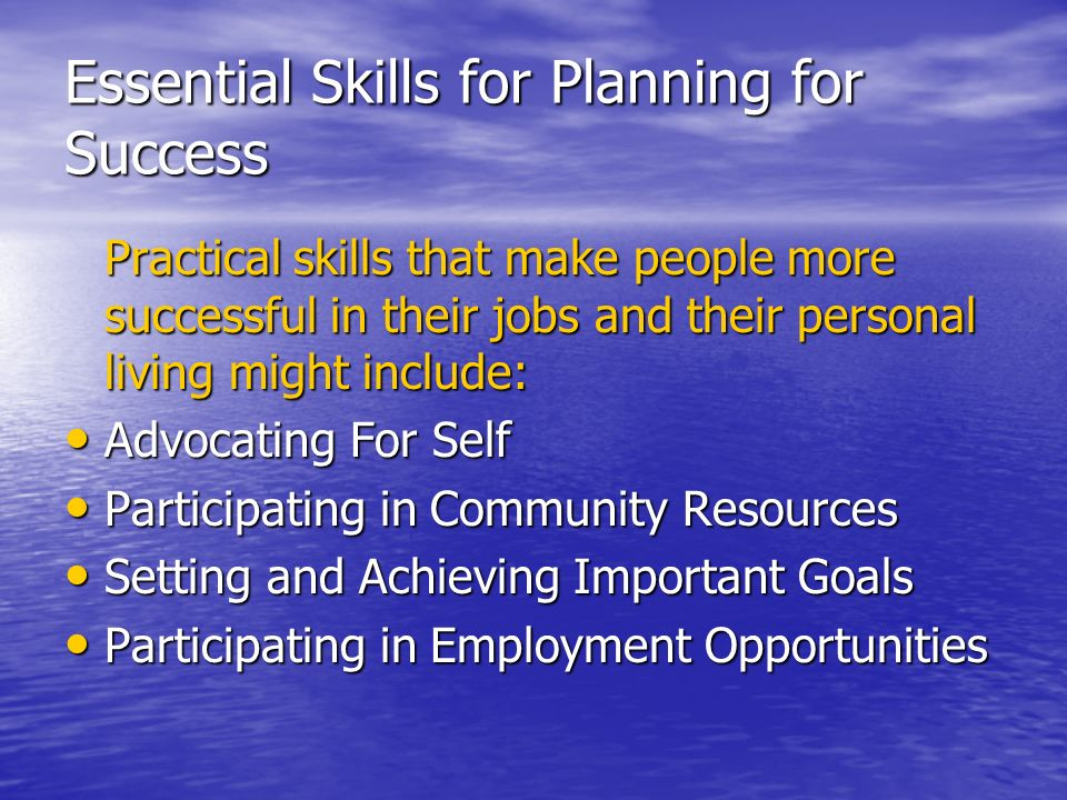 Essential Skills for Planning for Success