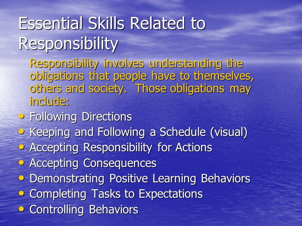 Essential Skills Related to Responsibility