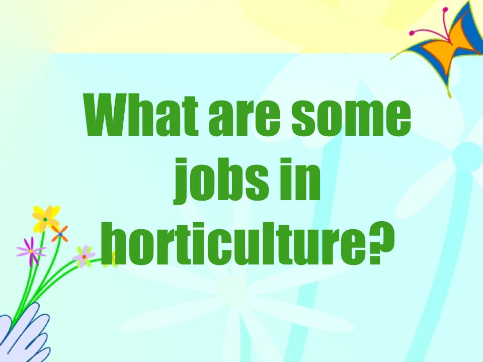 What are some jobs in horticulture