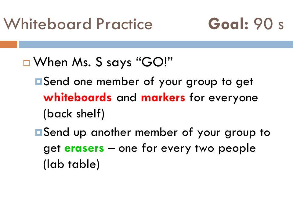 Whiteboard Practice Goal: 90 s