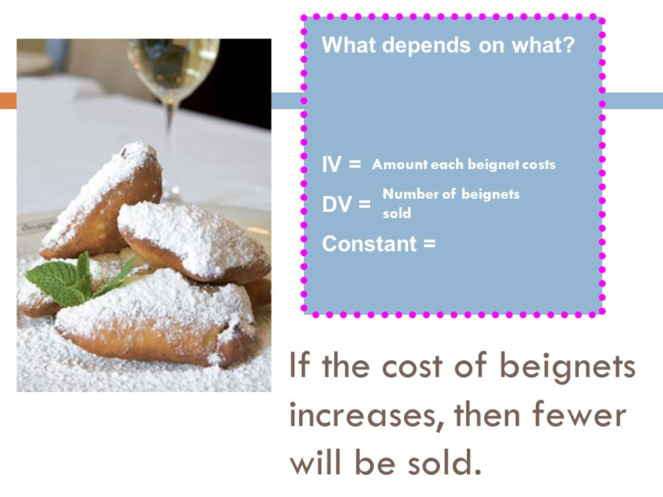 If the cost of beignets increases, then fewer will be sold.