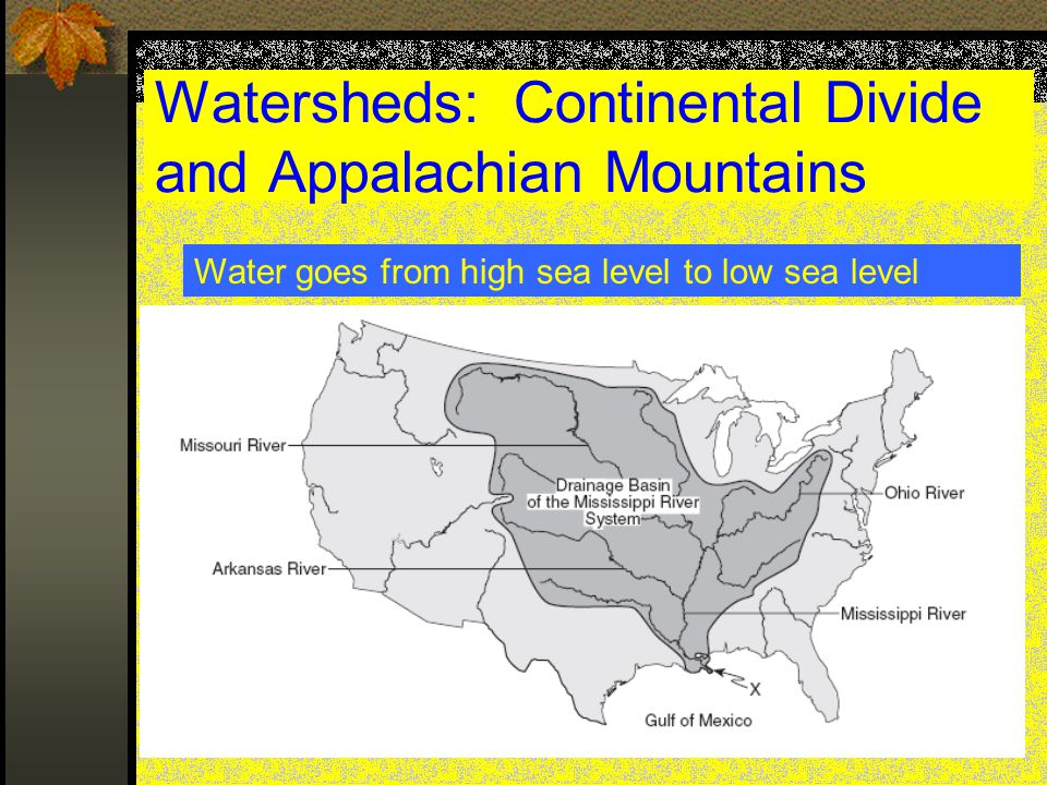 Watersheds: Continental Divide and Appalachian Mountains