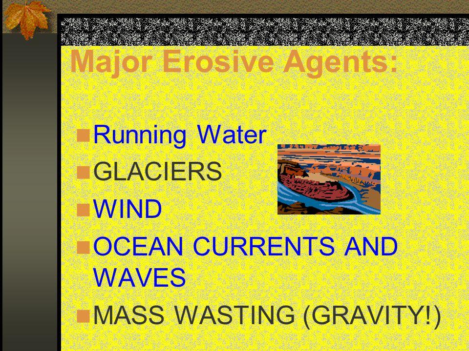 Major Erosive Agents: Running Water GLACIERS WIND