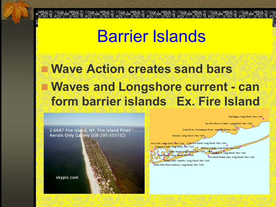 Barrier Islands Wave Action creates sand bars