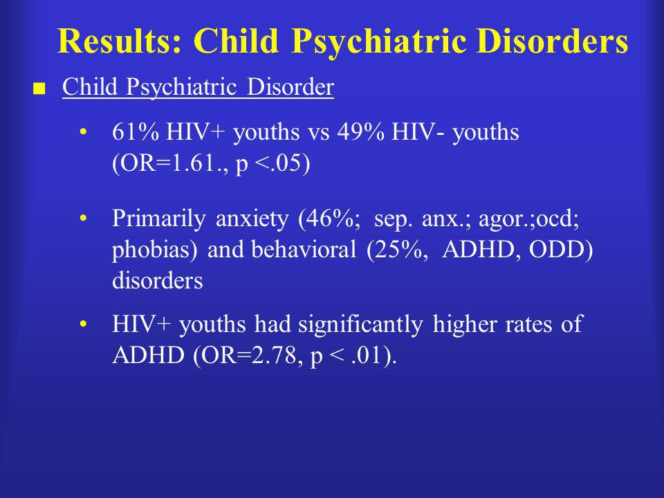 Results: Child Psychiatric Disorders