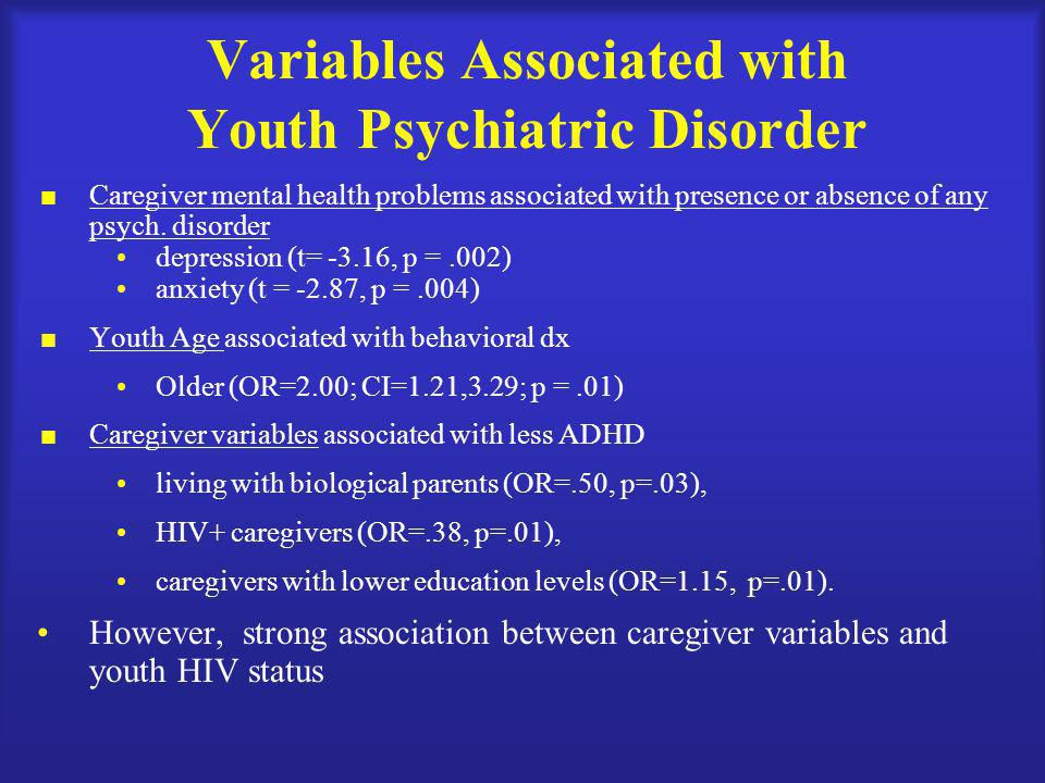 Variables Associated with Youth Psychiatric Disorder