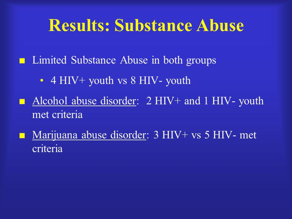 Results: Substance Abuse