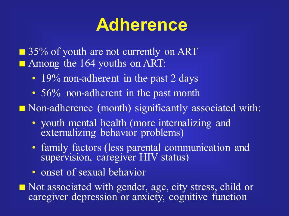Adherence 35% of youth are not currently on ART