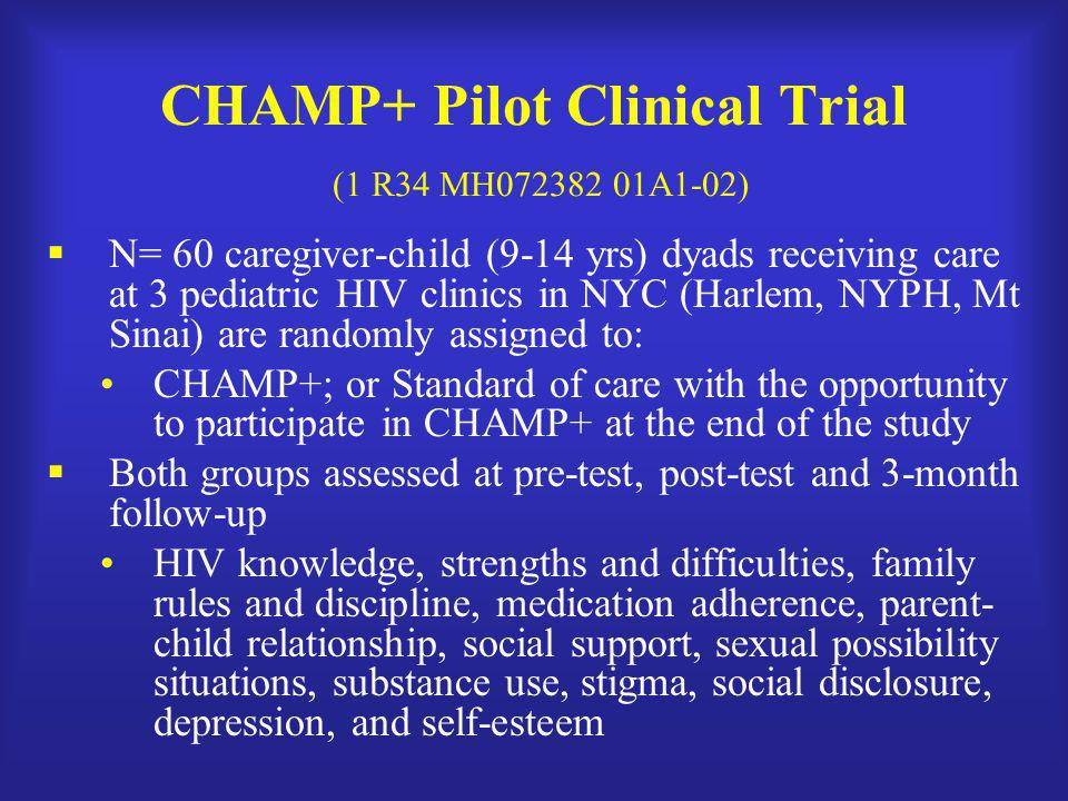 CHAMP+ Pilot Clinical Trial (1 R34 MH072382 01A1-02)