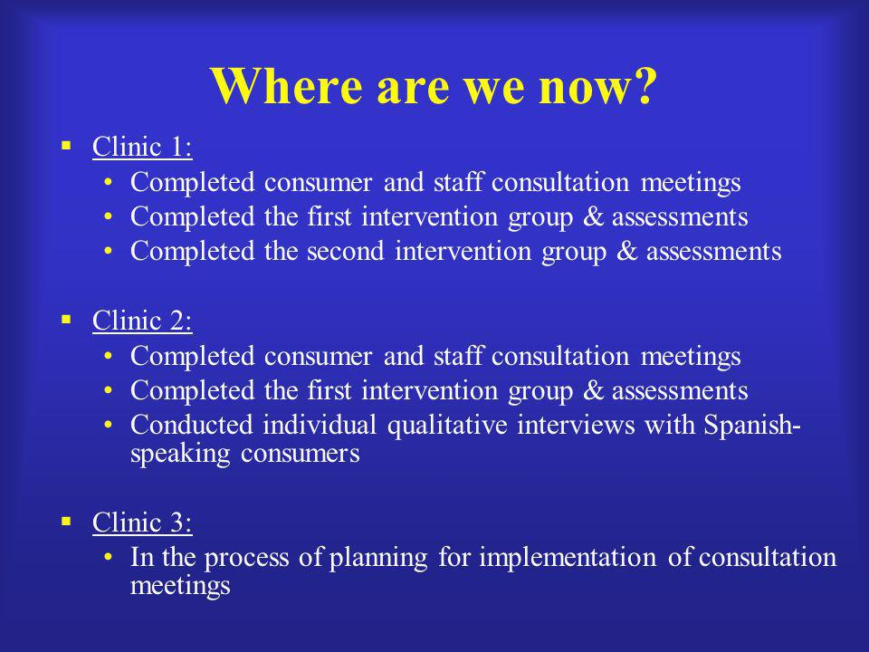 Where are we now Clinic 1: