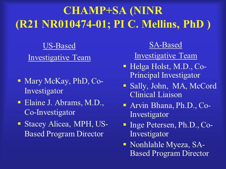CHAMP+SA (NINR (R21 NR010474-01; PI C. Mellins, PhD )
