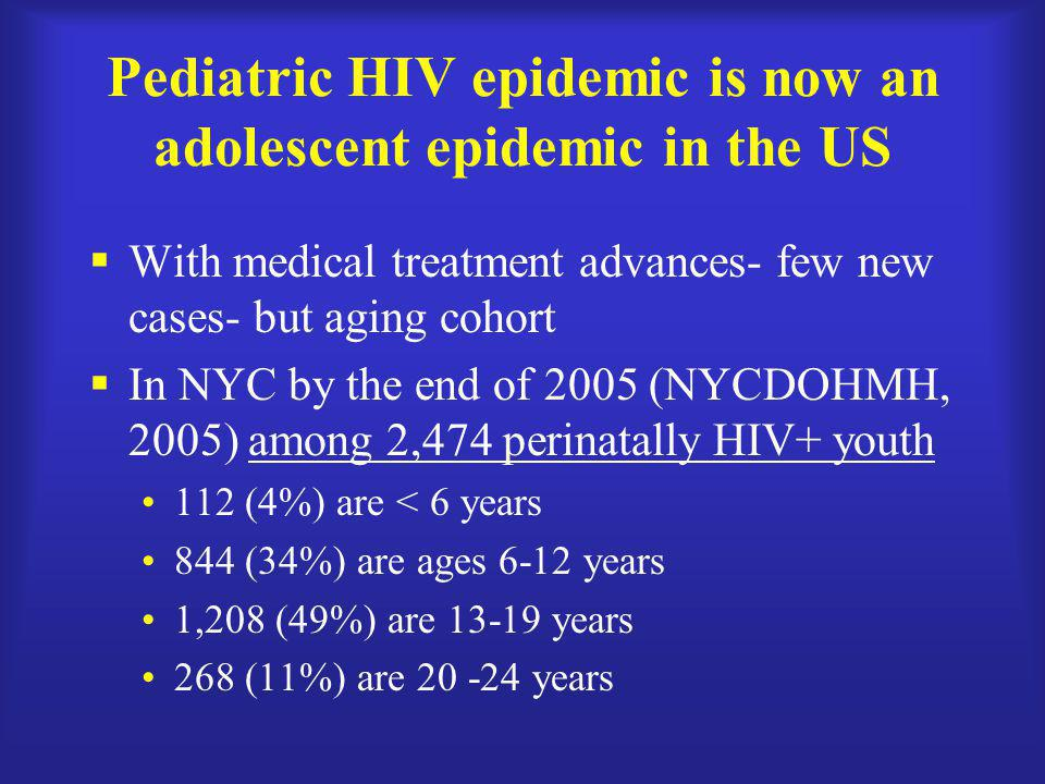 Pediatric HIV epidemic is now an adolescent epidemic in the US