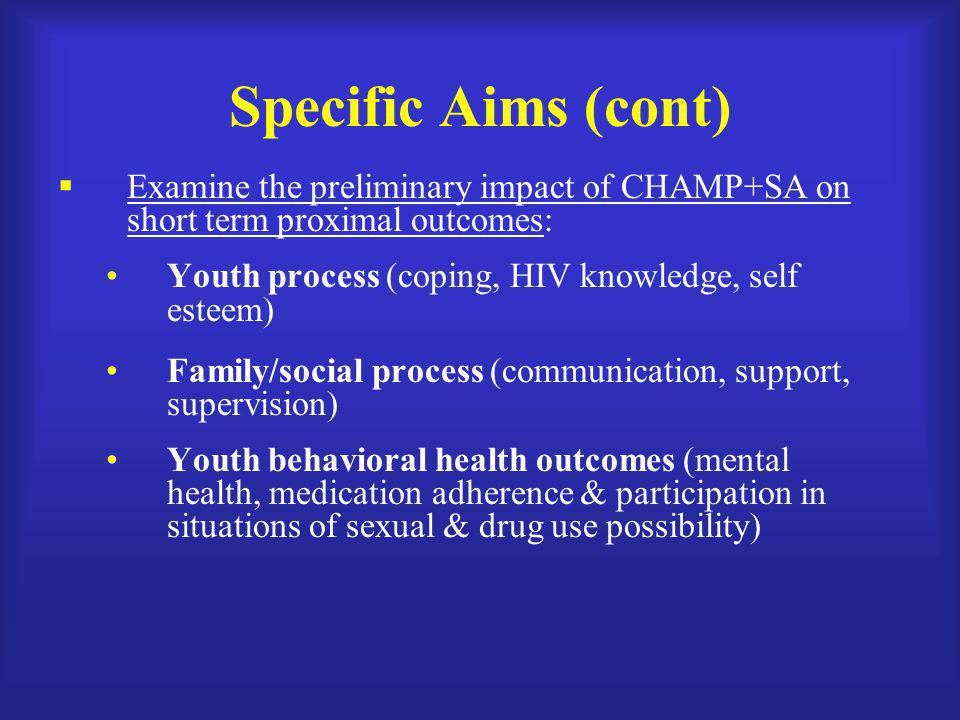 Specific Aims (cont) Examine the preliminary impact of CHAMP+SA on short term proximal outcomes: Youth process (coping, HIV knowledge, self esteem)