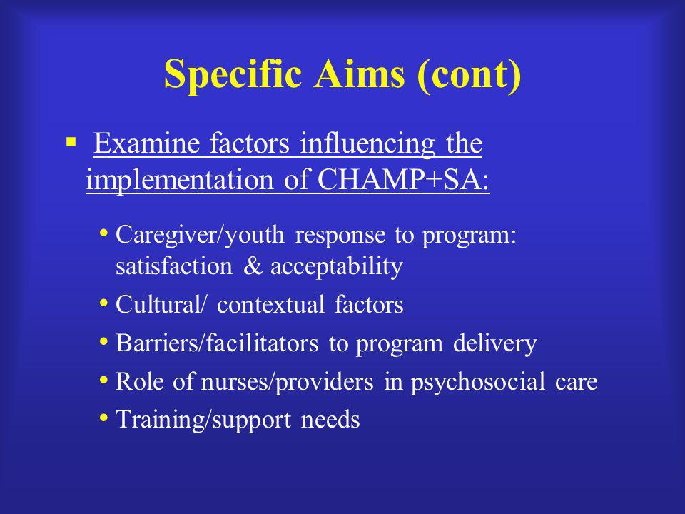 Specific Aims (cont) Examine factors influencing the implementation of CHAMP+SA: Caregiver/youth response to program: satisfaction & acceptability.