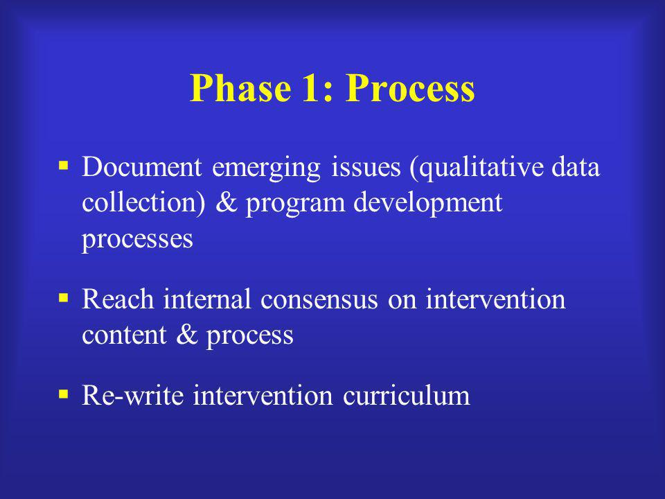 Phase 1: Process Document emerging issues (qualitative data collection) & program development processes.