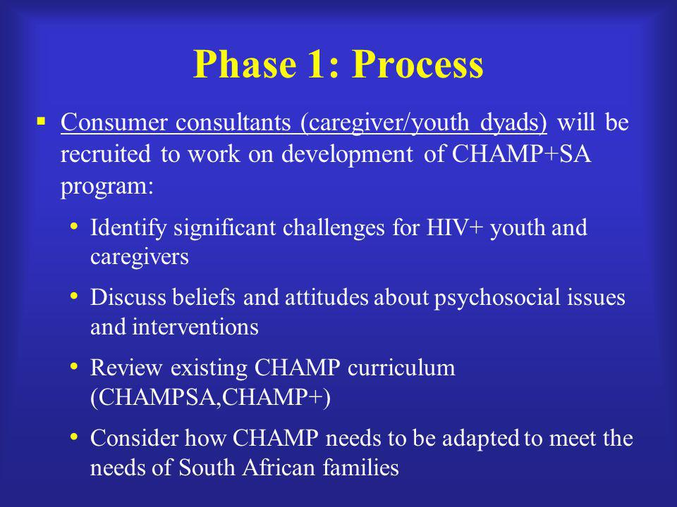 Phase 1: Process Consumer consultants (caregiver/youth dyads) will be recruited to work on development of CHAMP+SA program: