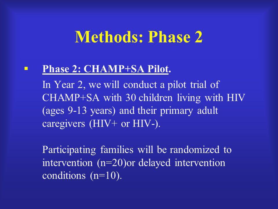 Methods: Phase 2 Phase 2: CHAMP+SA Pilot.