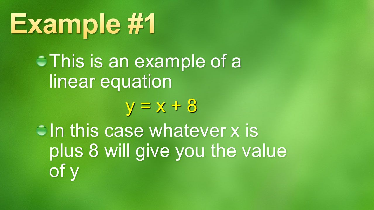 Example #1 This is an example of a linear equation y = x + 8