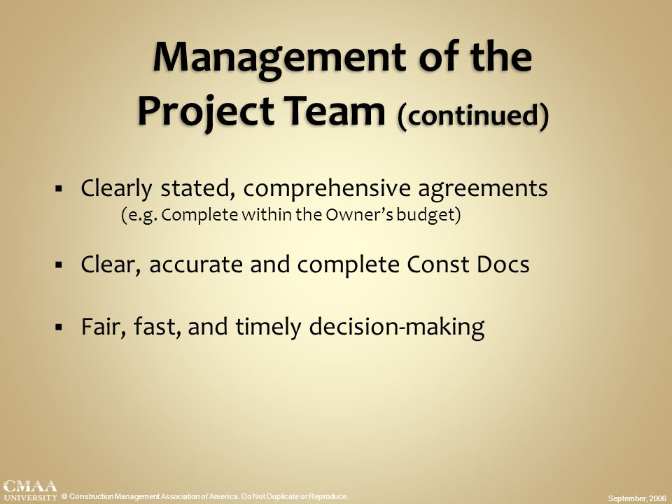 Management of the Project Team (continued)
