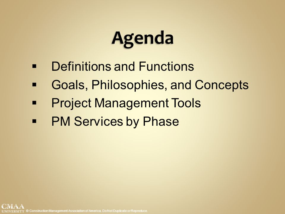 Agenda Definitions and Functions Goals, Philosophies, and Concepts
