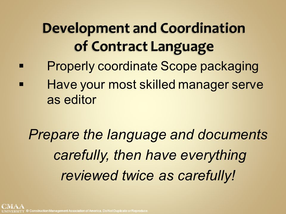 Development and Coordination of Contract Language