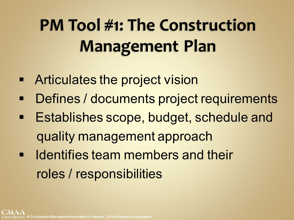 PM Tool #1: The Construction Management Plan