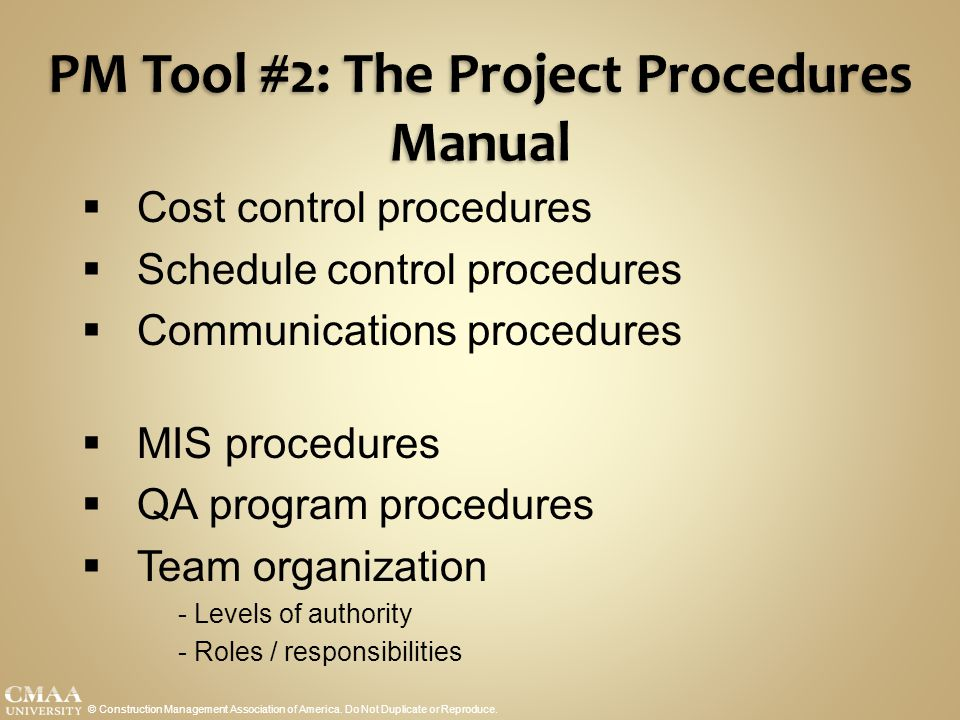 PM Tool #2: The Project Procedures Manual