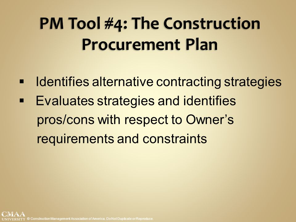 PM Tool #4: The Construction Procurement Plan