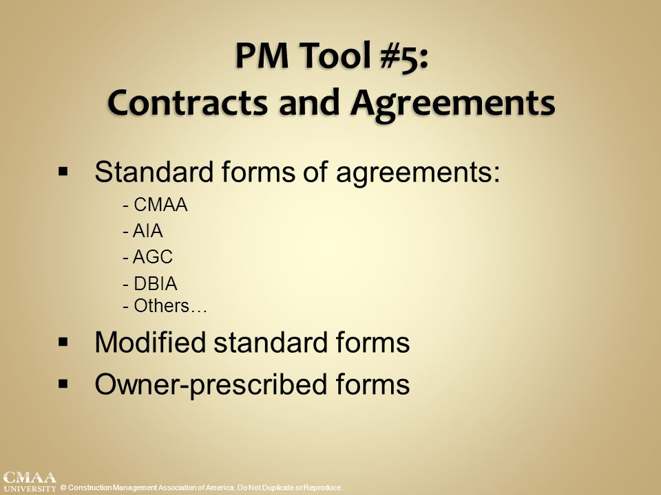 PM Tool #5: Contracts and Agreements