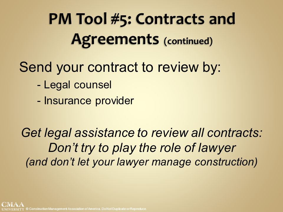 PM Tool #5: Contracts and Agreements (continued)