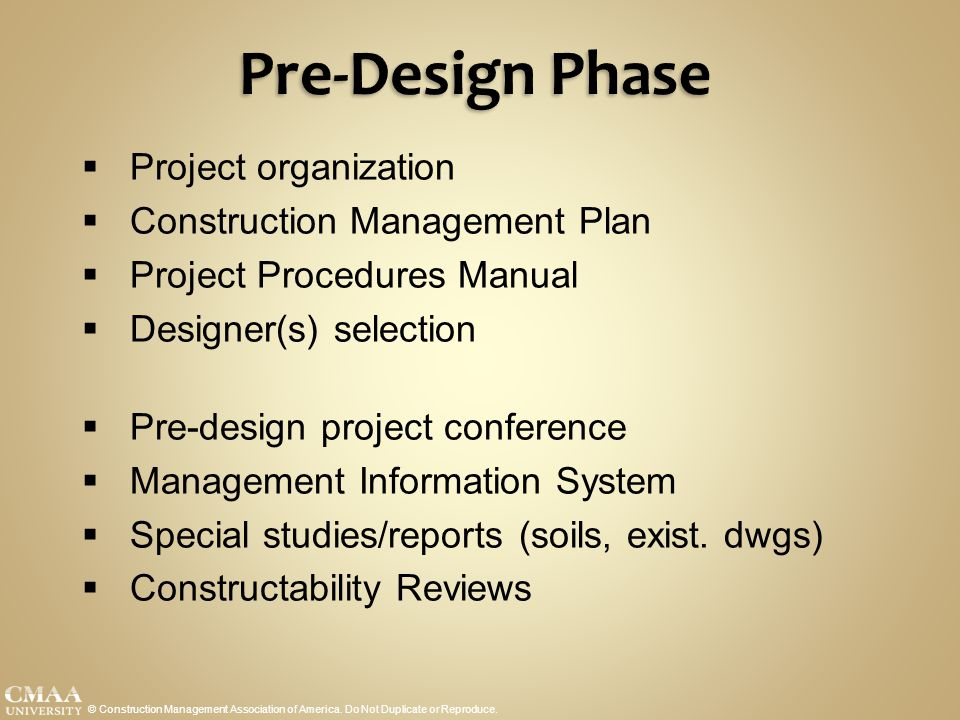 Pre-Design Phase Project organization Construction Management Plan