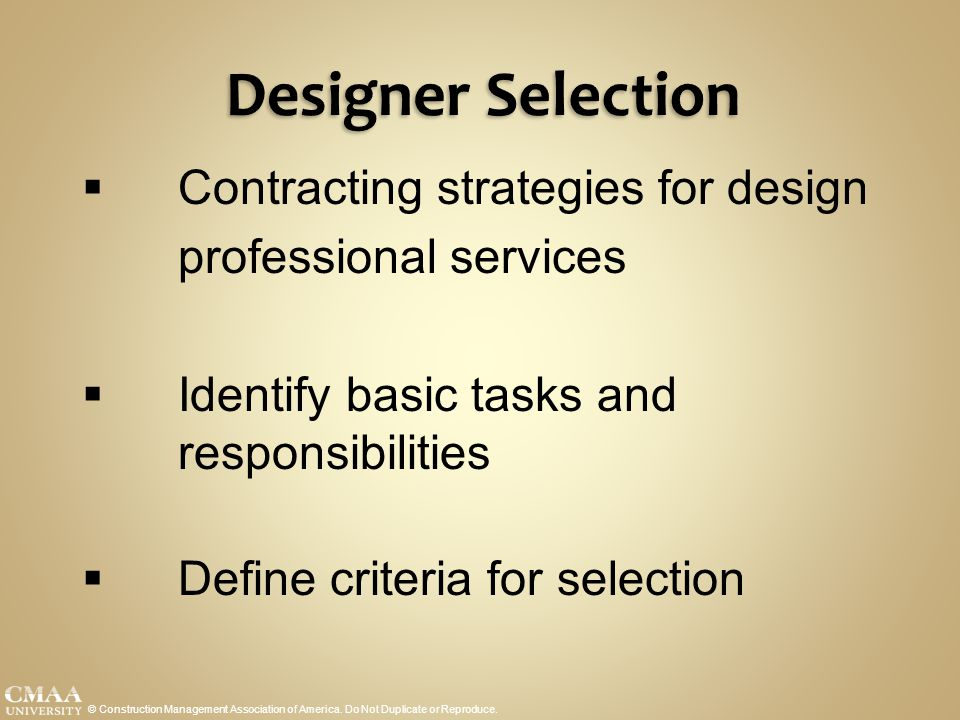 Designer Selection Contracting strategies for design