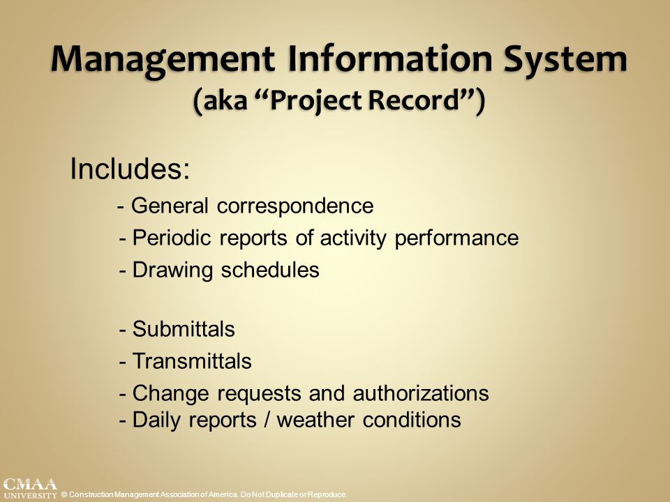 Management Information System (aka Project Record )