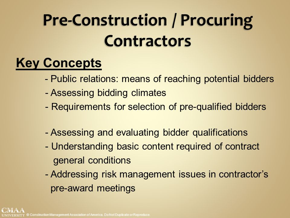 Pre-Construction / Procuring Contractors