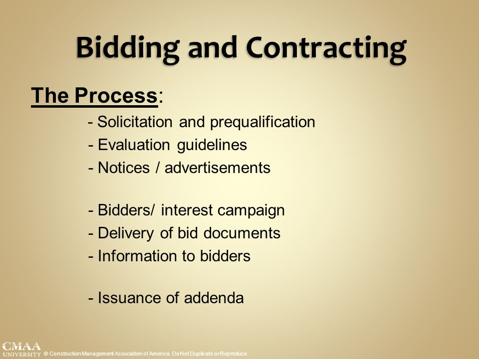 Bidding and Contracting