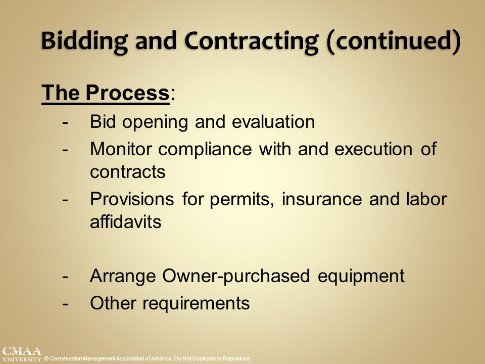 Bidding and Contracting (continued)