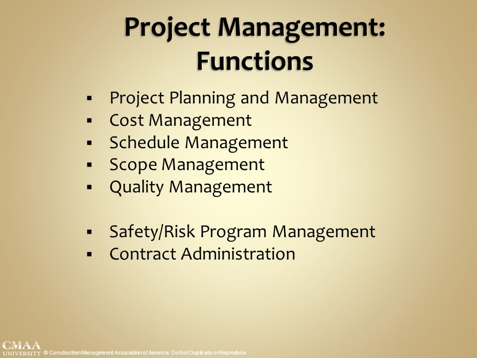 Project Management: Functions
