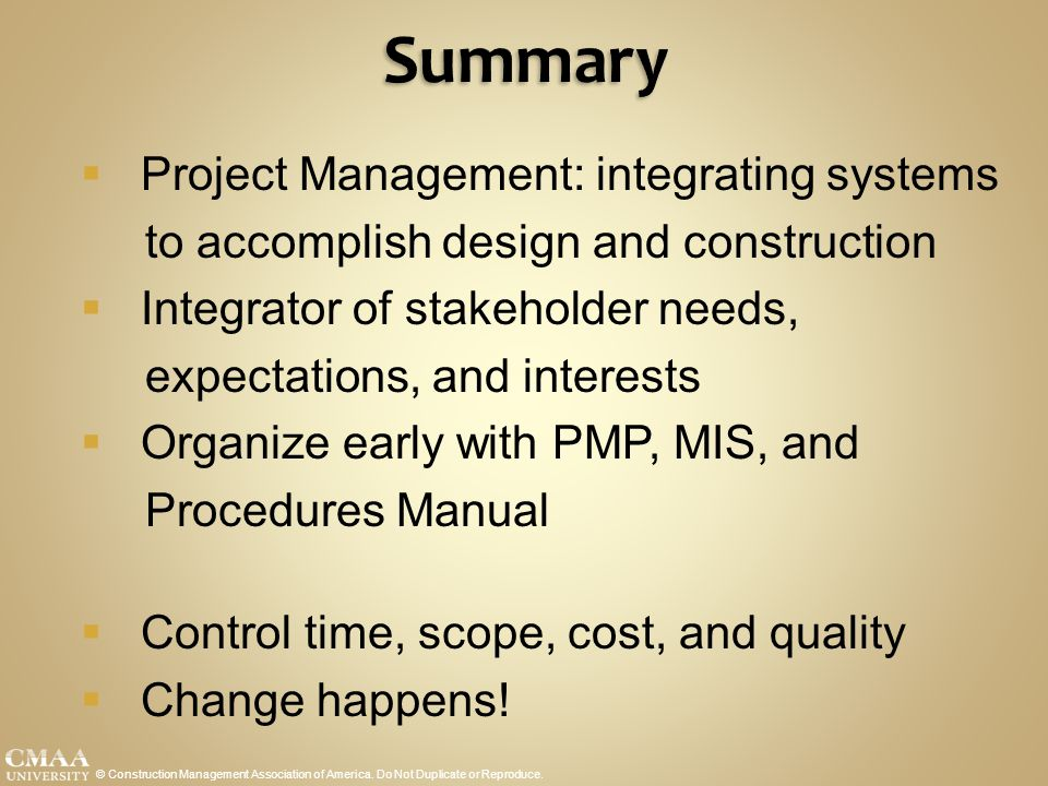 Summary Project Management: integrating systems