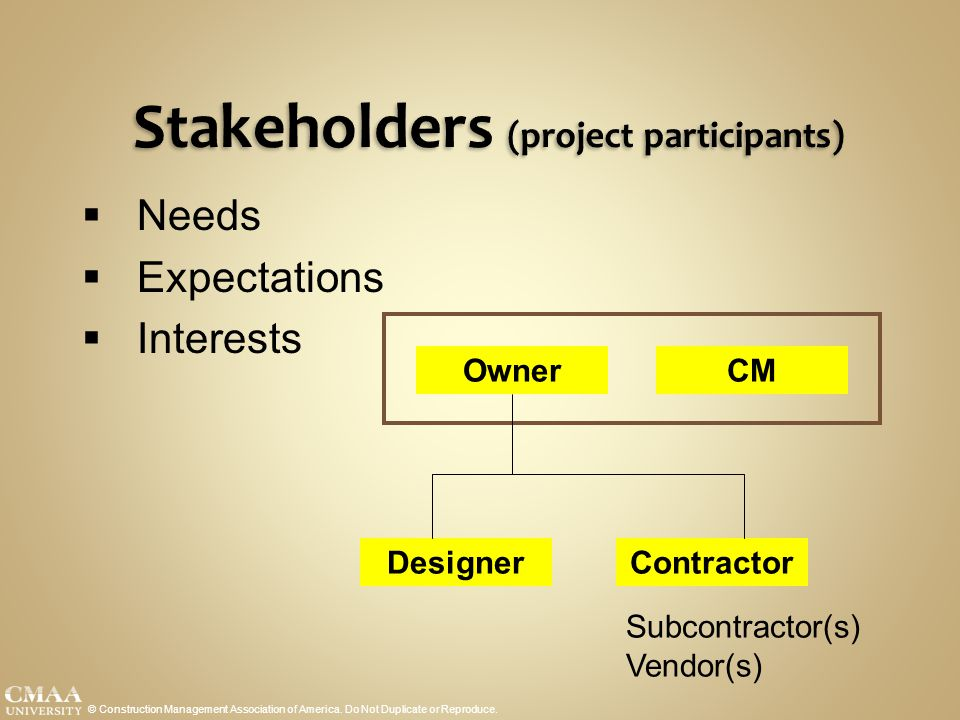 Stakeholders (project participants)