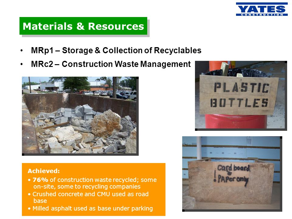 Materials & Resources MRp1 – Storage & Collection of Recyclables