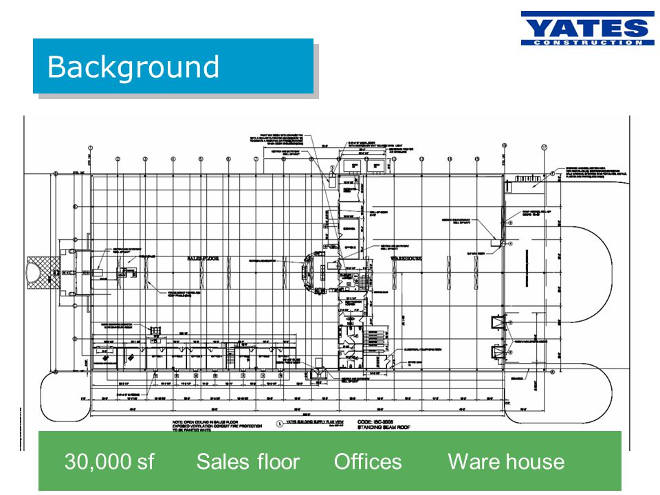 Background 30,000 sf Sales floor Offices Ware house