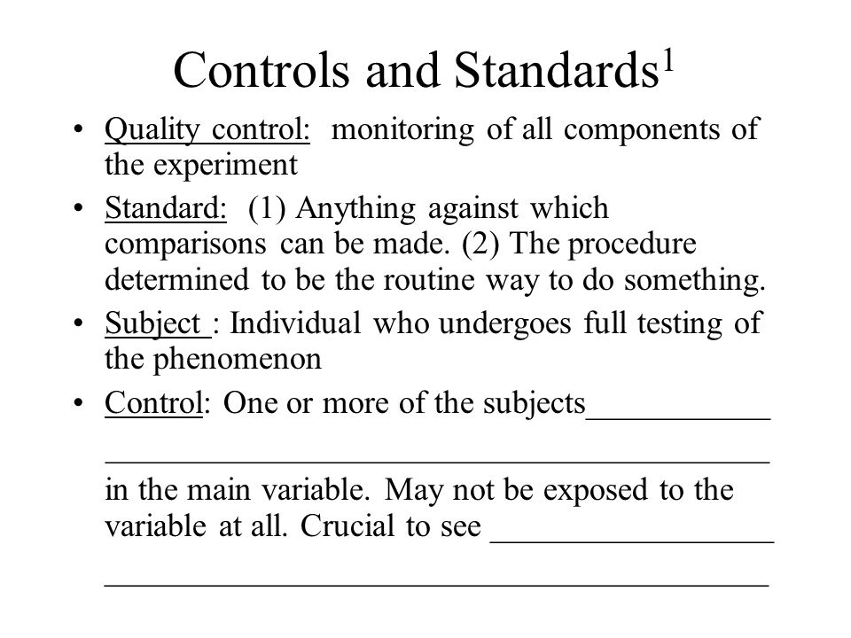 Controls and Standards1