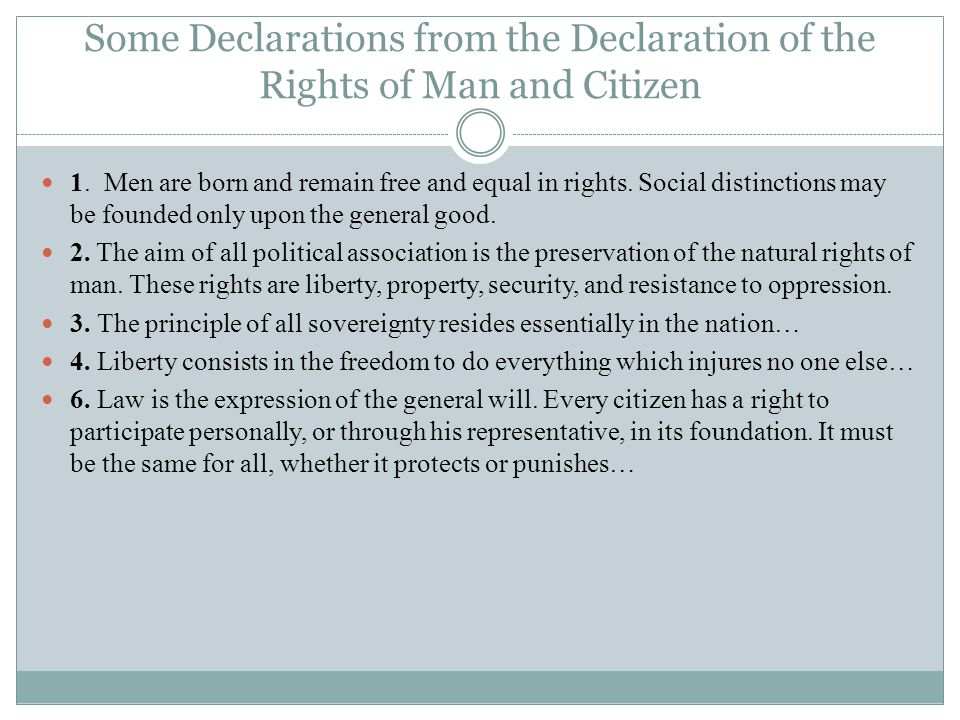 Some Declarations from the Declaration of the Rights of Man and Citizen