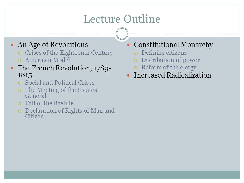 Lecture Outline An Age of Revolutions The French Revolution, 1789-1815