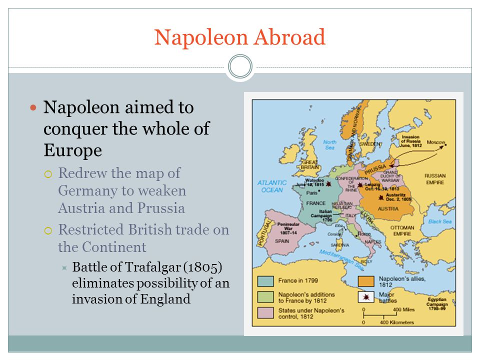 Napoleon Abroad Napoleon aimed to conquer the whole of Europe