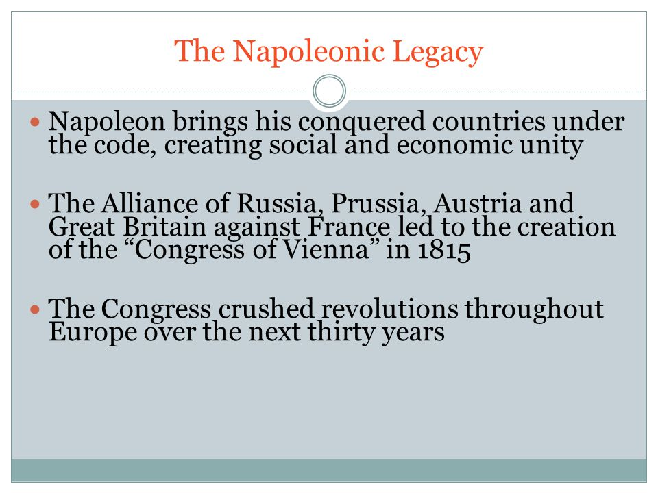 The Napoleonic Legacy Napoleon brings his conquered countries under the code, creating social and economic unity.